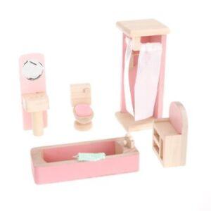 Children-Wooden-Doll-House-Furniture-Kids-Bathroom-T6P3