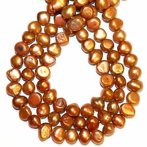 """NP496 Red Copper 8mm - 9mm Flat Potato Cultured Freshwater Pearl Beads 14"""""""