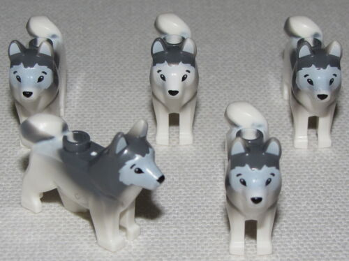 LEGO LOT OF 5 NEW HUSKEY WOLF DOG ARTIC MINIFIGURE ANIMALS