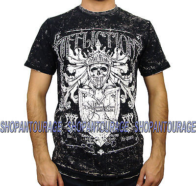 AFFLICTION Glorify A8143 Reversible Men`s New T-shirt Black