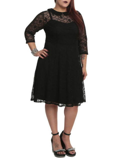 Tripp Plus Size Gothic Black Skull Lace Overlay Dress 1X 2X 3X 4X 5X