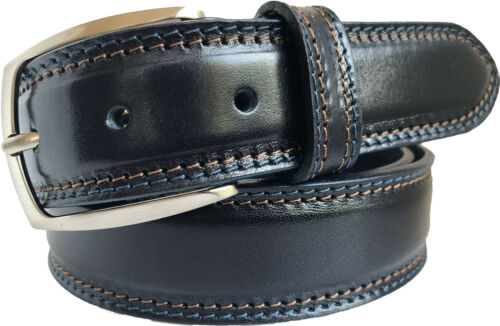 100/% ITALIAN LEATHER BELT TAN BLACK BLUE BURGUNDY 35MM CONTRAST STITCHED
