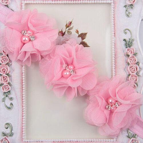 Baby Mädchen Ruffle Blumen Haarband Stirnband Kopfband Blüte Haarschmuck Ne T2W2