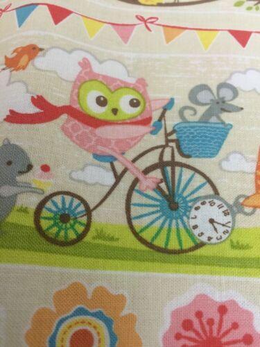Tissu couleur crème arbre fête hiboux sur motos scooters fq ou plus 100/% coton craft