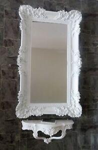 Specchio da Parete Barocco Bianco con Console Rettangolare Antico ...