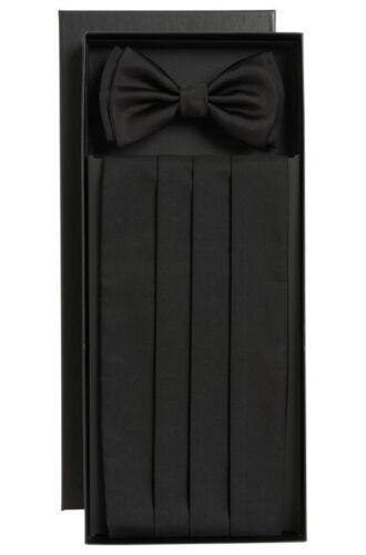 SEE PICTURES! HUGO BOSS Silk Cummerbund and Bow Tie One Size BLACK NEW