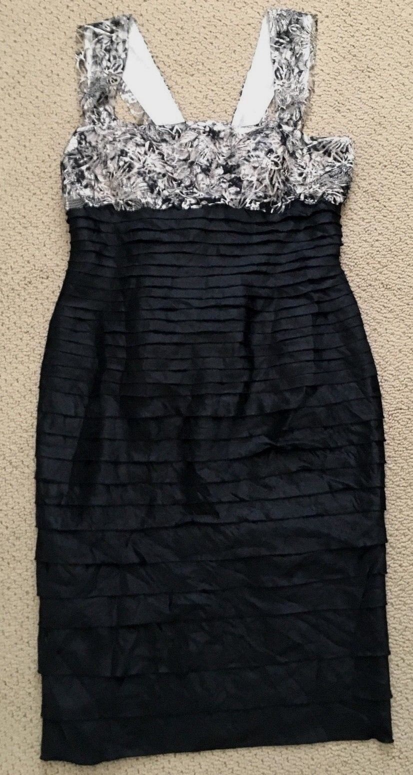 JS Collections Womens Black Gold Lace Shutter Cocktail Dress Sz. 10 Pre-Owned