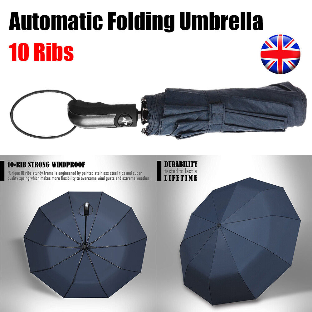 10 Ribs Auto Open & Close Windproof Travel Umbrella Compact Folding Unisex Blue