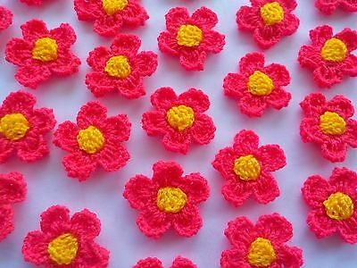 50! 2-Colour Wool Crochet Flowers - Hot Red Pink & Yellow Daisy Flower!