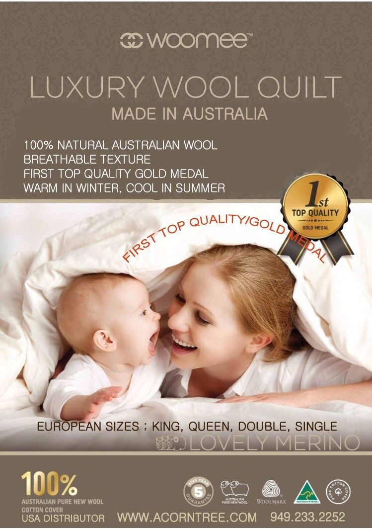 1 Gold Award, Australian Woomee Luxury 100% New Wool Duvet Comforter  Single