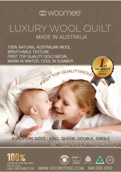 # 1 Gold Award, Australian Woomee Luxury 100% New Wool Duvet/comforter :king Top Watermeloenen