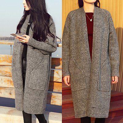 Women Long Sleeve Knitted Cardigan Oversized slouchy Outwear Sweater Coat Tops
