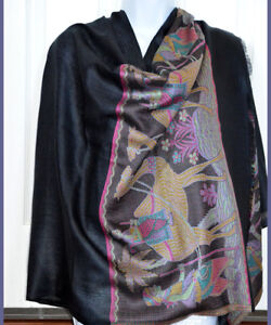 Black-Pashmina-Silk-blend-Shawl-Stole-Wrap-Floral-Design-from-India