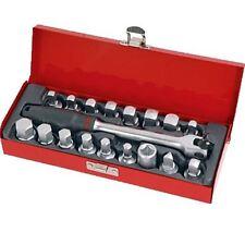 18 Piece Drain Plug Key Socket Set Sump Oil Sockets Universal Car Van Garage
