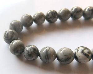 50pcs-8mm-Round-Natural-Gemstone-Beads-Picasso-Jasper-Grey