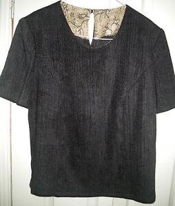 VIntage-Unique-Designer-Look-14-Black-Heavy-Woven-Short-Sleeve-Work-Blouse