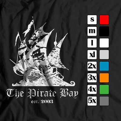 THE PIRATE BAY EST 2003 VINTAGE/DISTRESSED POLITICAL/ANARCHY T-SHIRT TEE TSHIRT