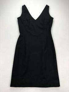 Piazza-Sempione-Black-Wool-Stretch-V-Neck-Sleeveless-Shift-Dress-Lined-Size-42