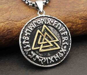 Mens valknut warriors knot valkyrie viking rune runic pendant image is loading mens valknut warrior 039 s knot valkyrie viking aloadofball Images