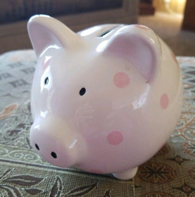 Break or shake Piggy bank Vintage Ceramic Pink Piggy Bank pink pig FREE SHIPPING