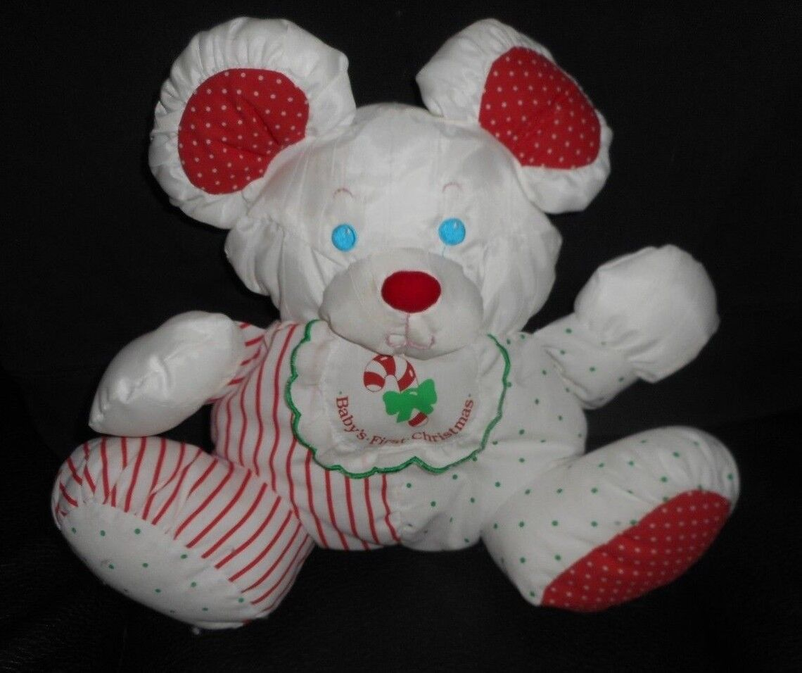 FISHER PRICE 1990 BABY'S 1ST CHRISTMAS MOUSE RATTLE PUFFALUMP STUFFED PLUSH TOY
