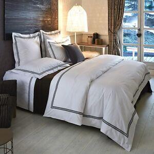Neuf Frette Hotel Collection Classique Blanc Noir Bourdon Cal Lit