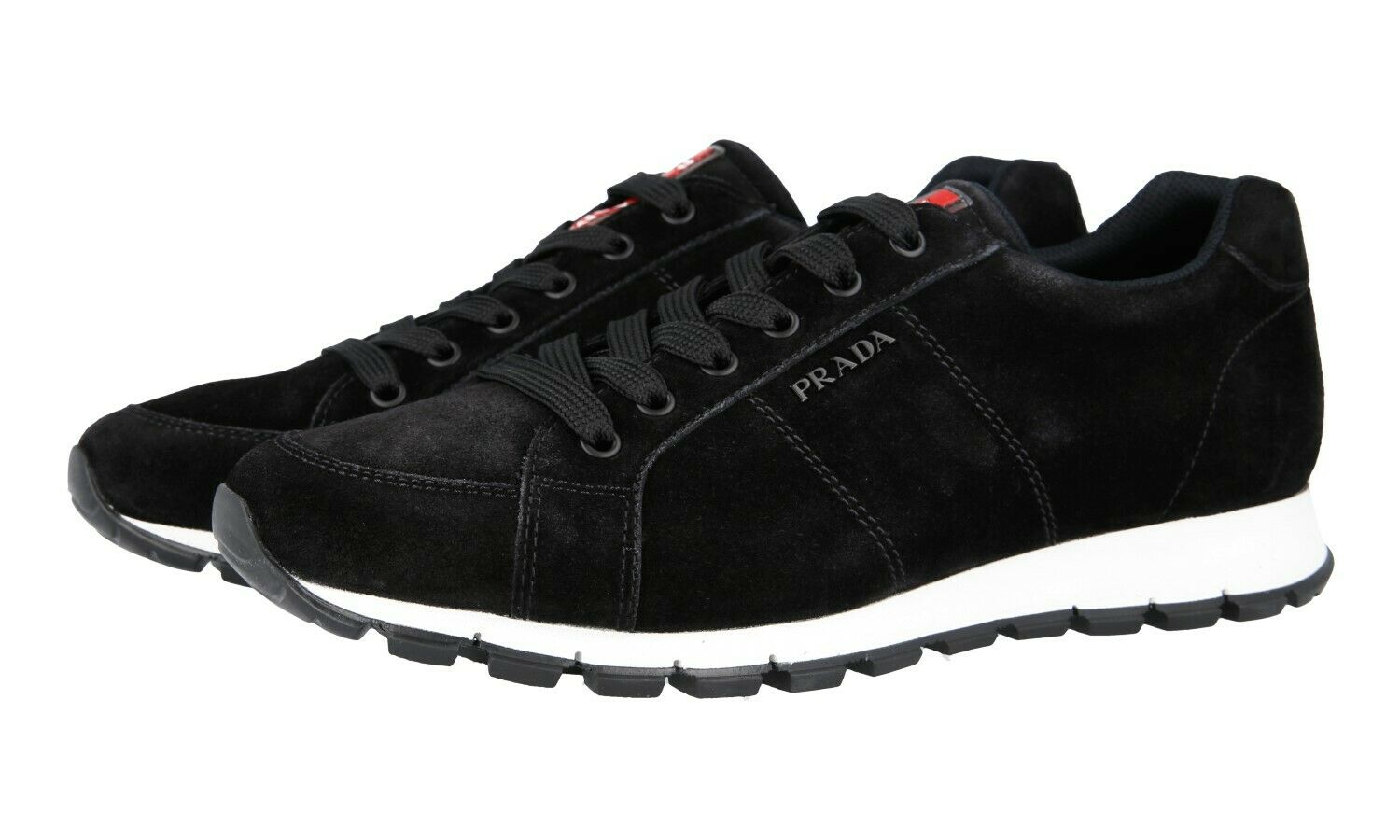 AUTH PRADA MATCHRACE TRAINERS SHOES 4E3233 BLACK SUEDE NEW 8 42 42,5