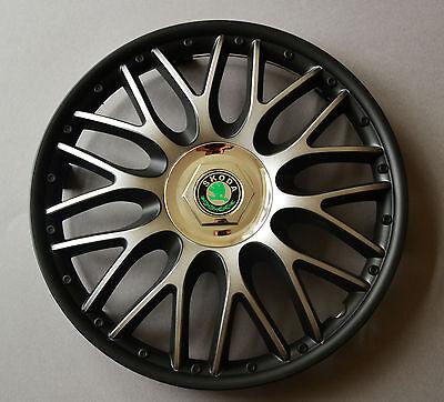 "14/"" Skoda Fabia Covers Hub Caps,Quantity 4,Black/&silver etc...Wheel Trims"