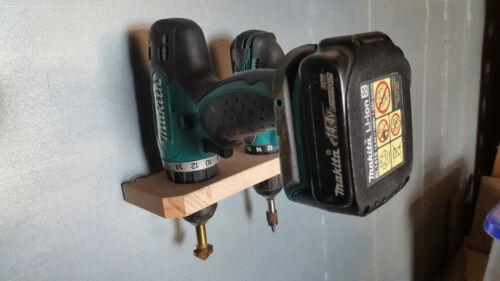 Wandhalterung für 2x Akkuschrauber magnetisch Buche Lochwand Werkzeugwand