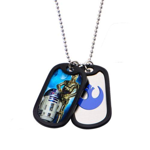 Star Wars R2D2 et C3PO Double Dog Tag En Acier Inoxydable Chaîne Collier sous licence