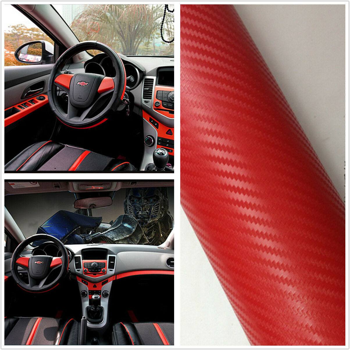 3d suv car accessories interior panel red carbon fiber vinyl wrap sticker ebay. Black Bedroom Furniture Sets. Home Design Ideas
