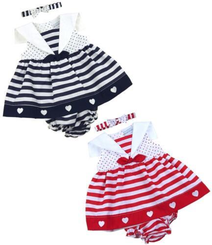 BabyPrem Baby Mädchen Kleid 6-9 9-12 12-18m Rot Marine Matrose Outfit Stirnband
