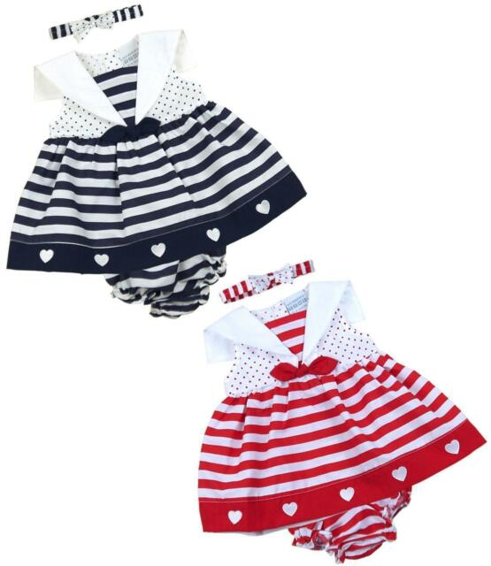 ac9a77adb3dbf BabyPrem Baby Girls Dress Red Navy Hearts   Stripes Sailor Outfit 6-9m 9-