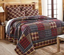 AUSTIN PLAID 3pc Full Queen QUILT SET : COTTON PATCH RED BLACK RUSTIC LOG CABIN