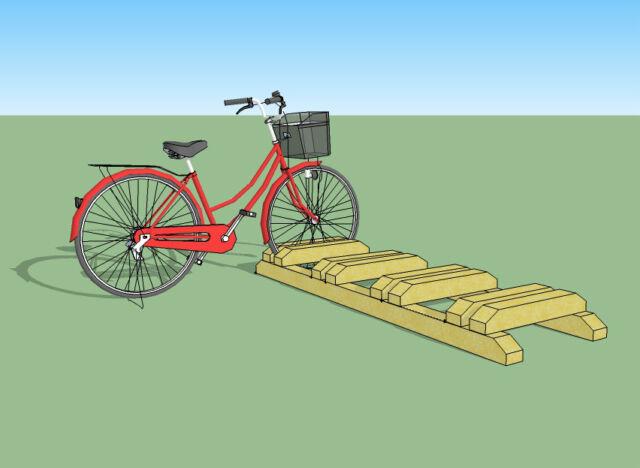 Porta bici da terra in legno impregnato, kit per 3 o 4 posti bici da giardino