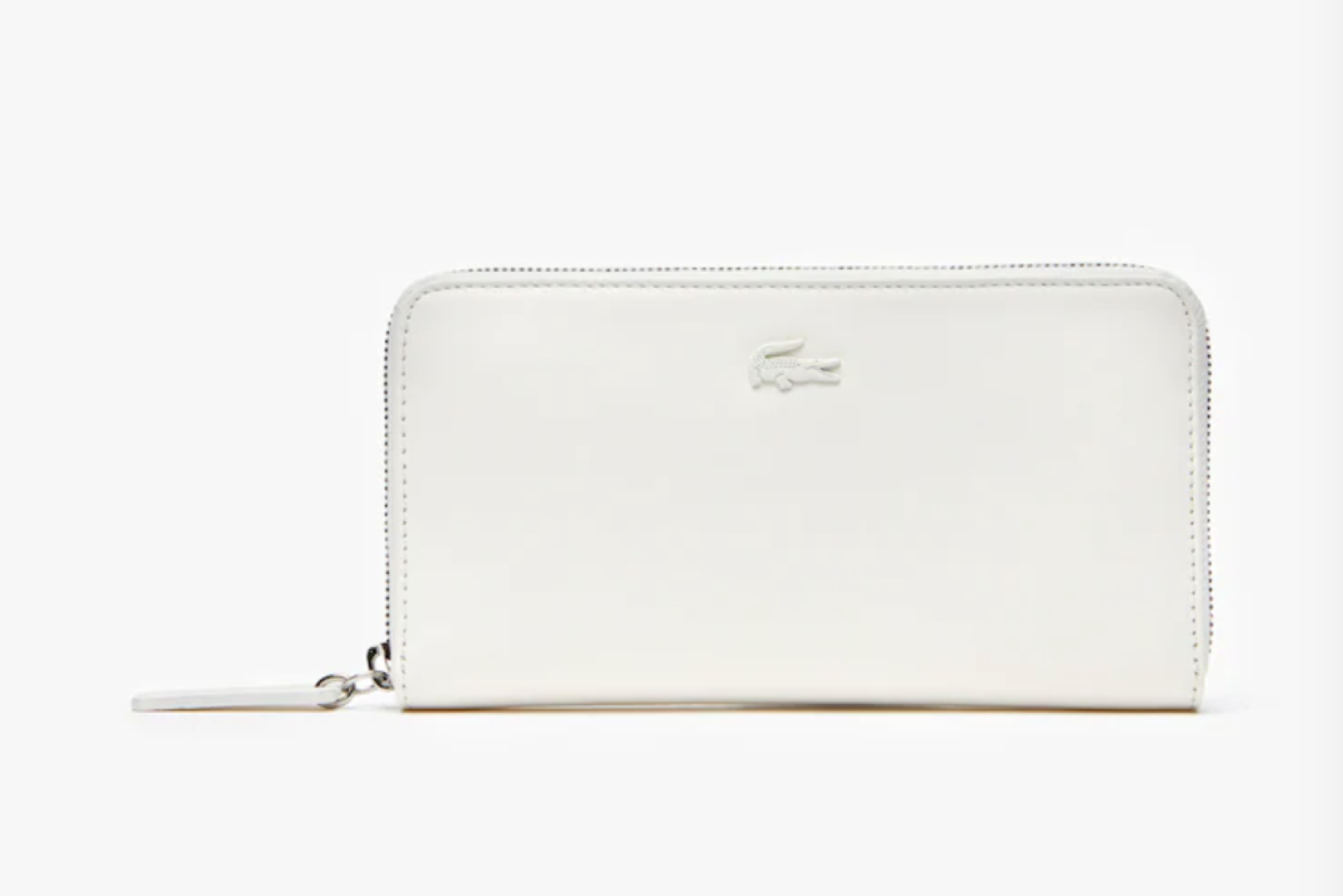 Lacoste Cow Leather 8 Card Zip Wallet MARSHMALLOW • A56