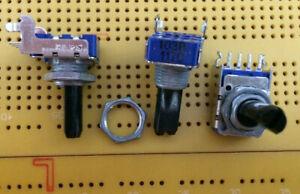 2 Stk horizontal // 2 pcs Alps RK11 Potentiometer 10kA log Gewinde mono