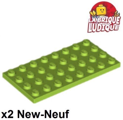 2x Plaque Plate 4x8 8x4 vert citron//lime 3035 NEUF Lego