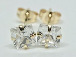 9K SOLID WHITE GOLD SOLITAIRE CUT DIAMOND STUDS EARRINGS