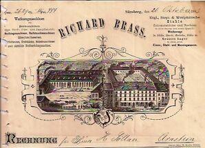Richard Brass Nürnberg deko hist Rechnung 1883 Franken Bayern Werkzeugmaschinen