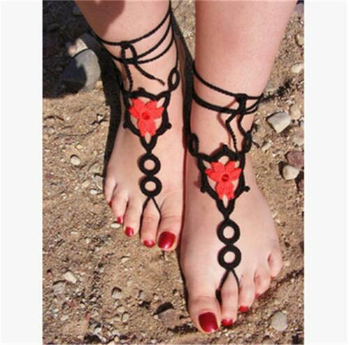 Barefoot Sandals Crochet Knit Foot Jewelry Anklet Bracelet Ankle Chain Gift SI