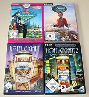 4 PC SPIELE SAMMLUNG - HOTEL GIGANT 1 & 2 - LUXUS HOTEL IMPERIUM SIMULATION