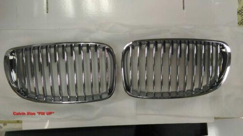 MIT CHROMED /& SILVER FRONT KIDNEY GRILLE BMW E81E82 E87 E88 1 SERIES 2008-2010