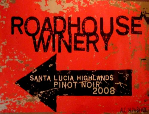 """TIN SIGN /""""Roadhouse Winery/"""" Wine Bar  Mancave Wall Decor Vintage Booze Gift"""