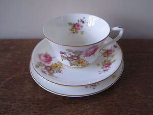 lovely vintage royal worcester bone china floral sprays trio cup