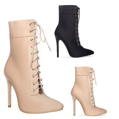 Mujer Damas Tacón Alto Stiletto botín tobillo con Cordones frente abierto zapatos talla