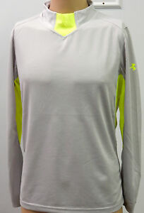 New under armour ua men 39 s gray grey neon green long for Under armour dri fit long sleeve shirts