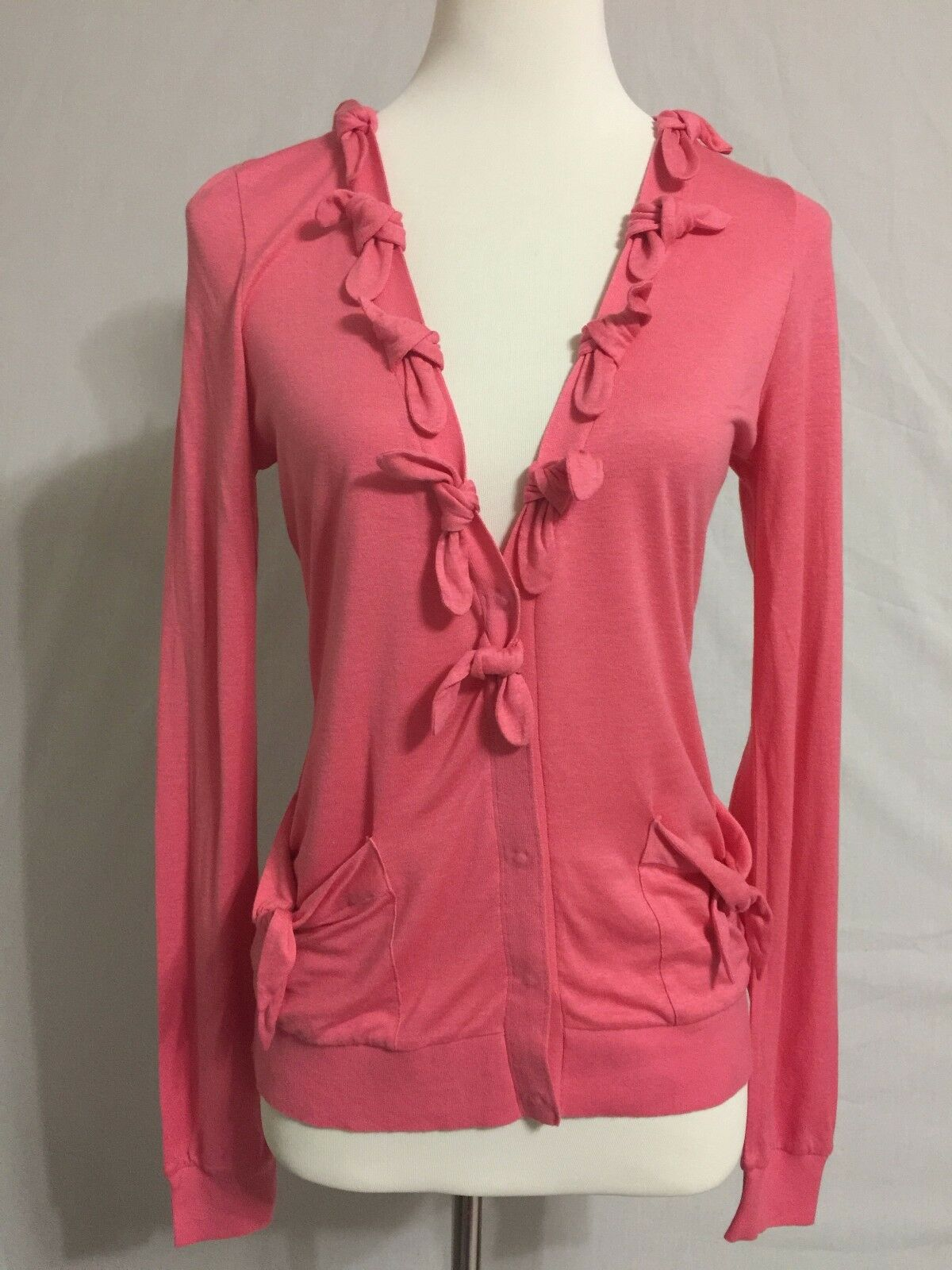 New Anthropologie Leifsdottir Pink Bow Buttondown Cardigan Sweater Sz S 4 6