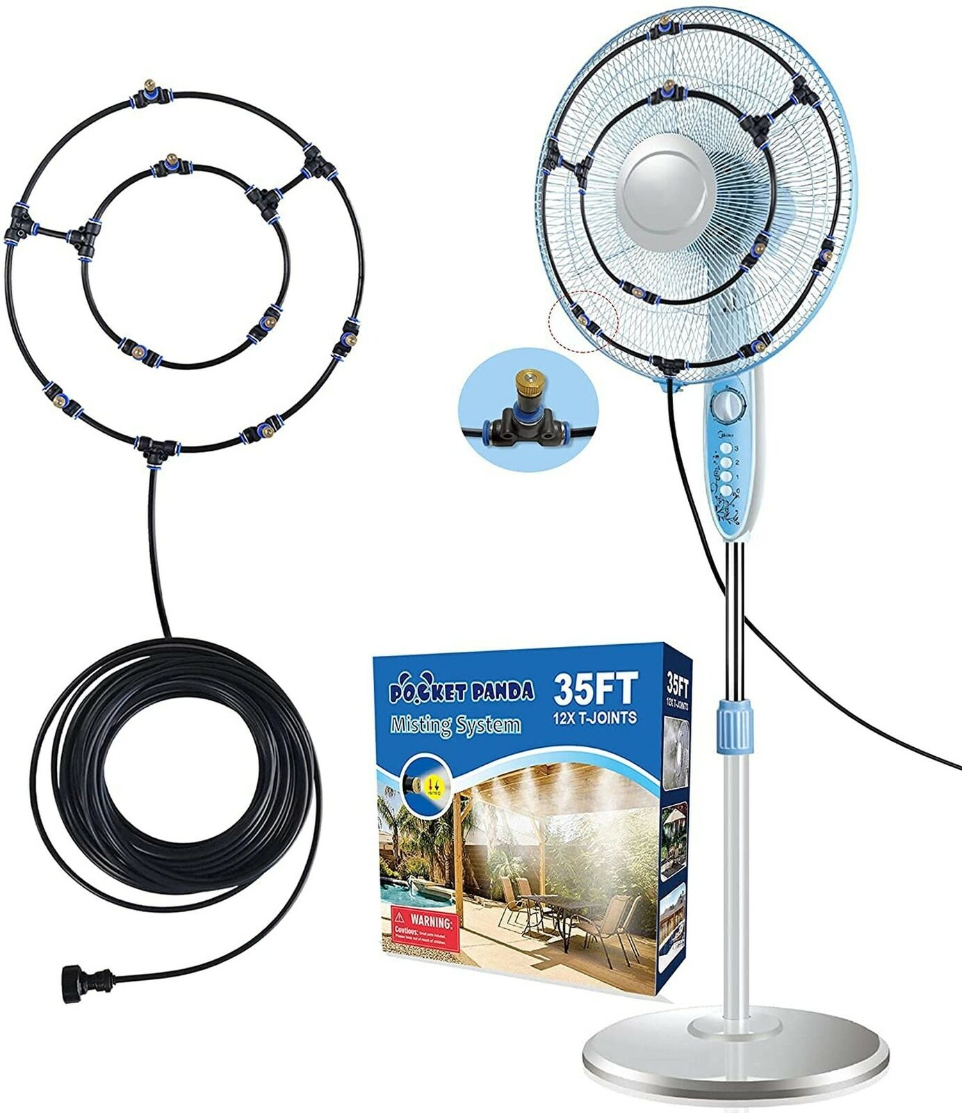 Misting Fans for Outside Patio, 35FT Misting Hose, Mister Fan Outdoor for Coo...