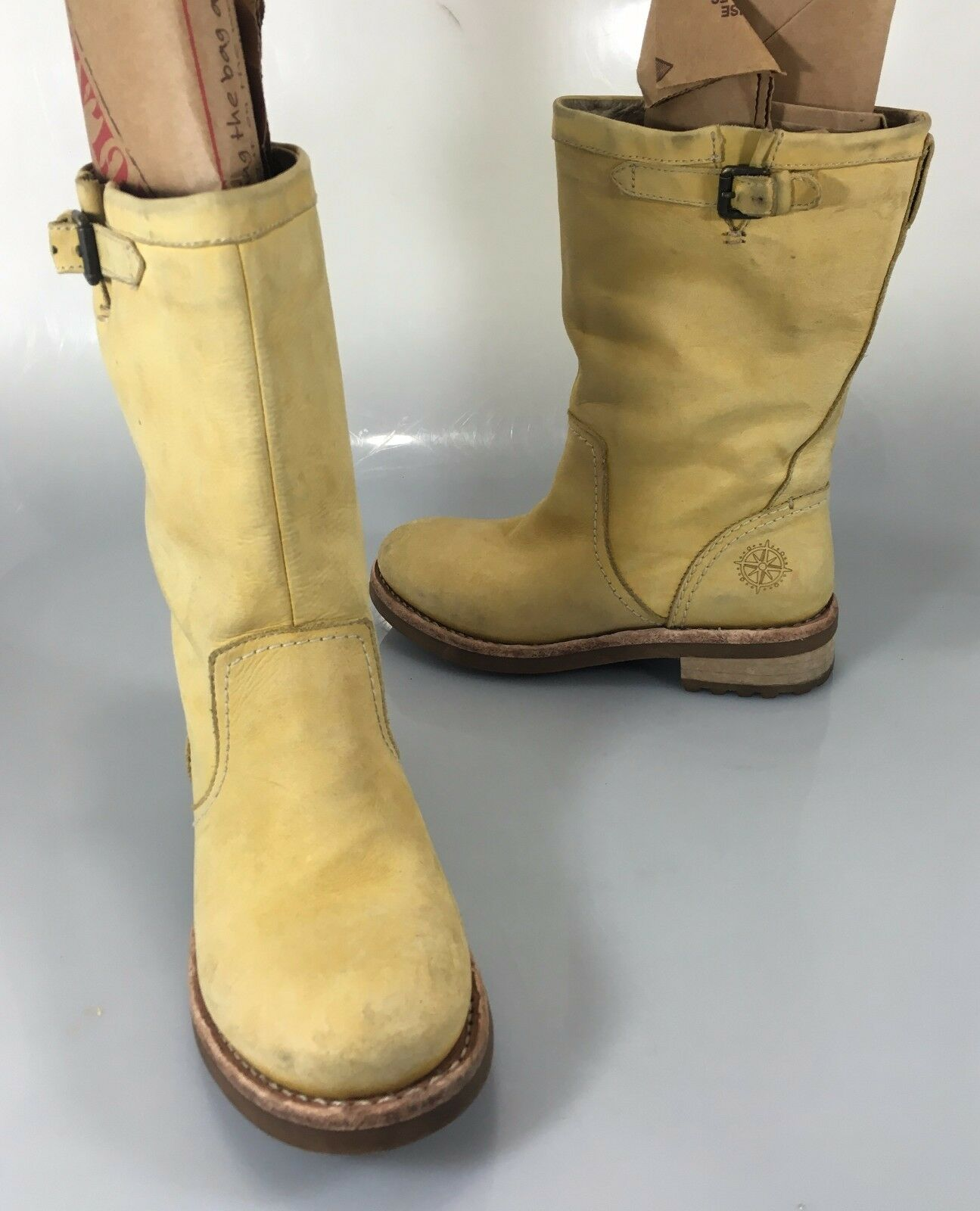 Bussola N Belfast Womens 36 US Yellow Suede Mid-Calf Riding Boots